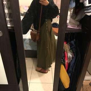 🚚 軍綠寬褲裙
