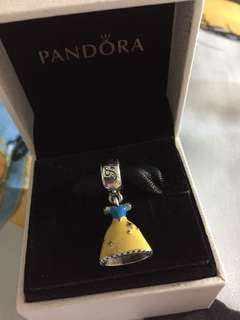 BNIS Pandora Disney Snow White Dress Silver Dangle With Yellow,Red And Blue Enamel