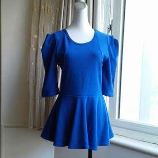 正韓 寶藍 荷葉襬上衣
