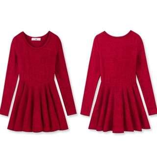 素面圓領傘狀長袖針織洋裝(紅)