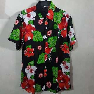 Sale Black Hawaiian Hibiscus Floral Summer Polo
