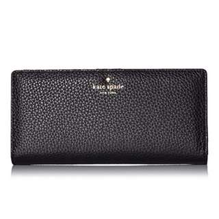AUTHENTIC kate spade new york women's leather wallet Cobble Hill Large Stacy black