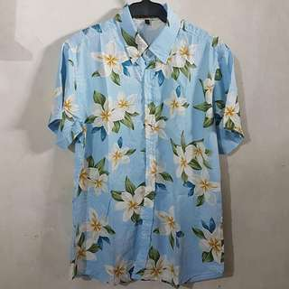 Powder Blue Beach Summer Floral Polo
