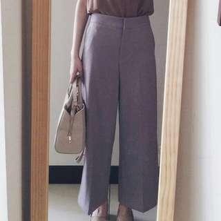 霧灰紫顯瘦寬褲