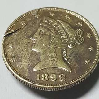 USA 10 dollars gold coin 1898 error.