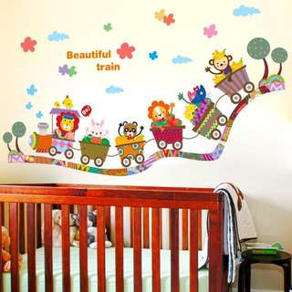 80X40cm animals little train wall decal sticker