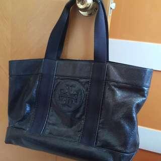 Tory Burch 正版黑色漆皮上膊大側袋