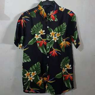 Black Paradise Mens Floral Summer Full Button Polo