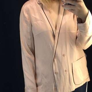 ZARA Trafaluc 光澤絲感黑邊粉色襯衫睡衣style