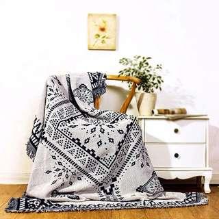 [OH_JUMP] 北歐風格黑白純棉沙發毯