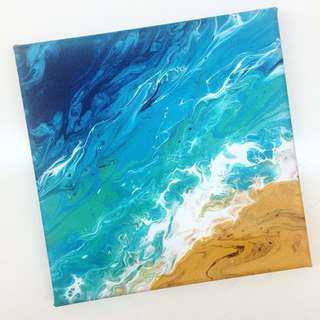 Aerial mini seascape 20x20cm