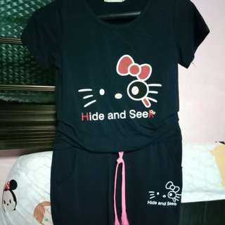 Hello Kitty Hide and Seek Navy blue dress with ribbon