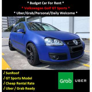 Volkswagen Golf GT Sports For Rent - Daily / Uber / Grab Welcome