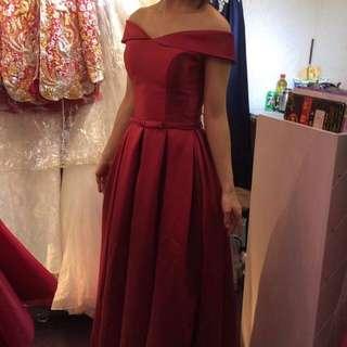 Dark Red Off Shoulder Dress