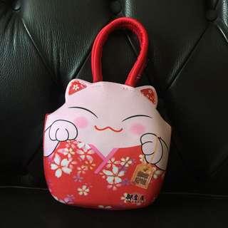 御倉屋 日式可愛招財貓防水手提袋 手提包 錢包 禮品袋 點心袋~cosplay 日式和服可搭