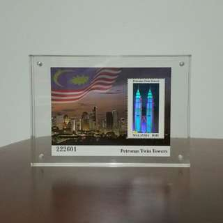 1999 Malaysia Petronas Twin Tower Miniature sheet in Acrylic display