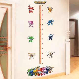 Super wings Growth Height Chart Measure for Kids Wall Stickers Decor