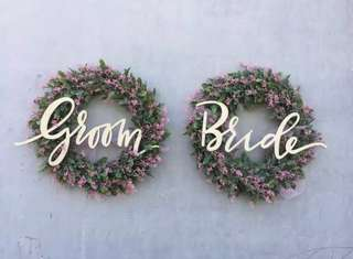 Bride and Groom Signage