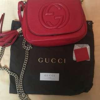 出售二手 Gucci soho disco 小牛皮斜背包 紅色 保證真品