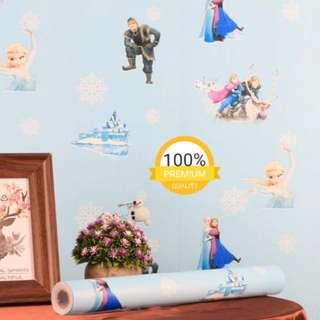 Grosir murah wallpaper sticker dinding indah biru kartun anak frozen