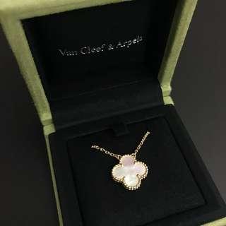 VCA Van Cleef & Arpels 白色貝母中size四葉草頸鍊