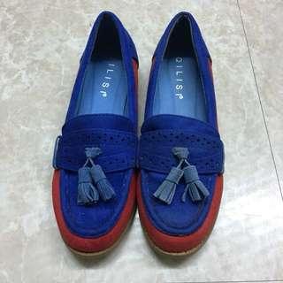 🚚 正韓紅藍撞色麂皮樂福鞋