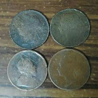 Syiling Lama 1 Cent Queen Victoria&K.Edward (4pcs)