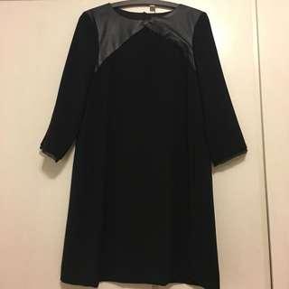 Zara 合成皮拼接黑色洋裝 size: M