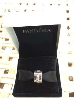 BNIS Pandora silver Clip With Clear Cublc Zirconia