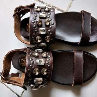 LZD Studded + Diamante strap sandals