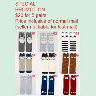 PROMOTION! $20 For 5 Pairs Cute Cheap New Knee Length High Socks For Baby Toddlers Kids Preschoolers