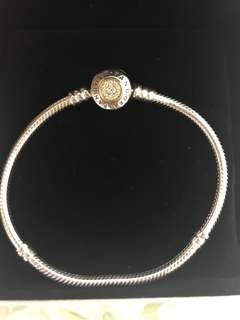 PANDORA LOGO SILVER BRACELET WITH 14K AND CLEAR CUBIC ZIRCONIA 19cm