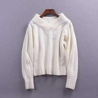 🚚 寬領針織毛衣