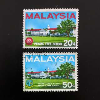 (MNH & Used) 2v Complete 1966 150th Anniversary Penang Free School Stamps