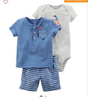 *9M* Brand New Carter's 3 Piece Bodysuit and Shorts Set For Baby Boy