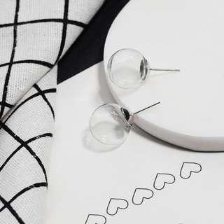 🎠透明玻璃 氣泡耳環