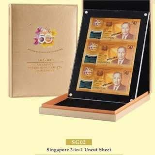 SG02 Singapore 3 in 1 Uncut Note Set