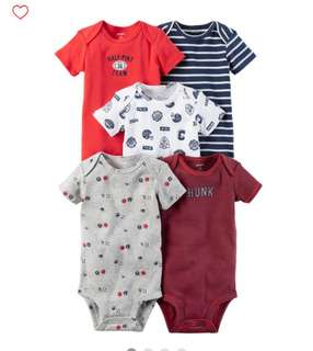 *9M* Brand New Carter's 5-Pack Short Sleeve Bodysuits For Baby Boy