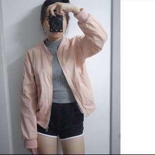 韓版粉色飛行外套
