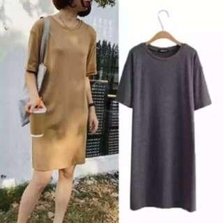 韓國 側開叉厚質長裙 連衣裙