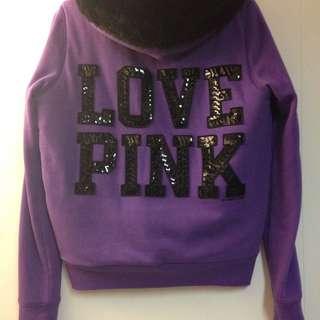 EUC - RARE - Victoria's Secret PINK - LOVE PINK Bling Faux Fur Lined Hoodie - Size M