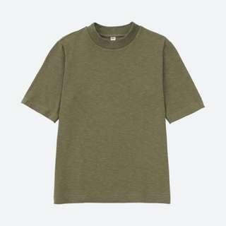 UNIQLO 粗紡中高領短袖T恤 黑色綠色 M號 女裝