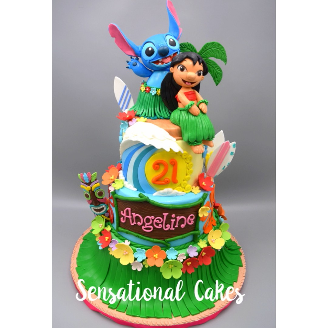 3D Lilo And Stitch Theme 3 Tier Hawaiian Style Cake Singapore