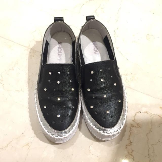 正韓鑲鑽真皮厚底鞋