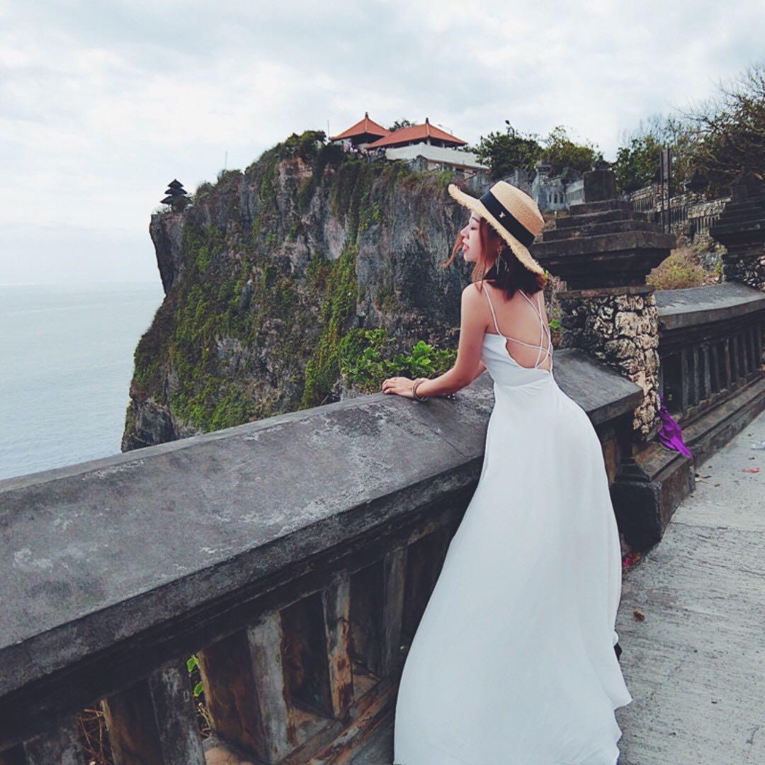 超美海島度假露背性感長洋裝