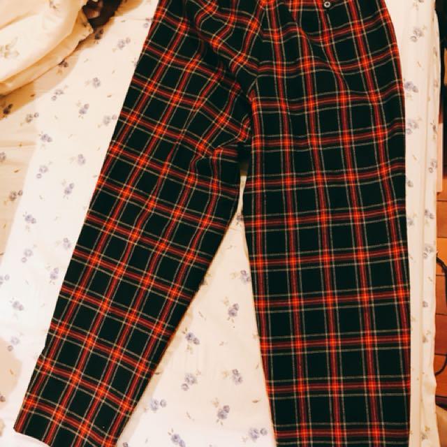 日牌蘇格蘭格紋格子毛呢長褲