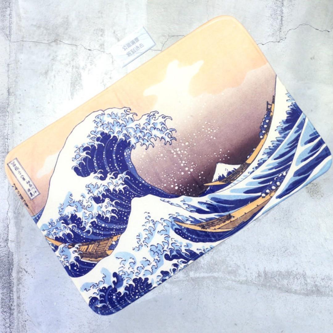 「神奈川沖浪裏 浮世繪 海浪 巨浪 葛飾北齋/中島時太郎 踏墊 @公雞漢堡」