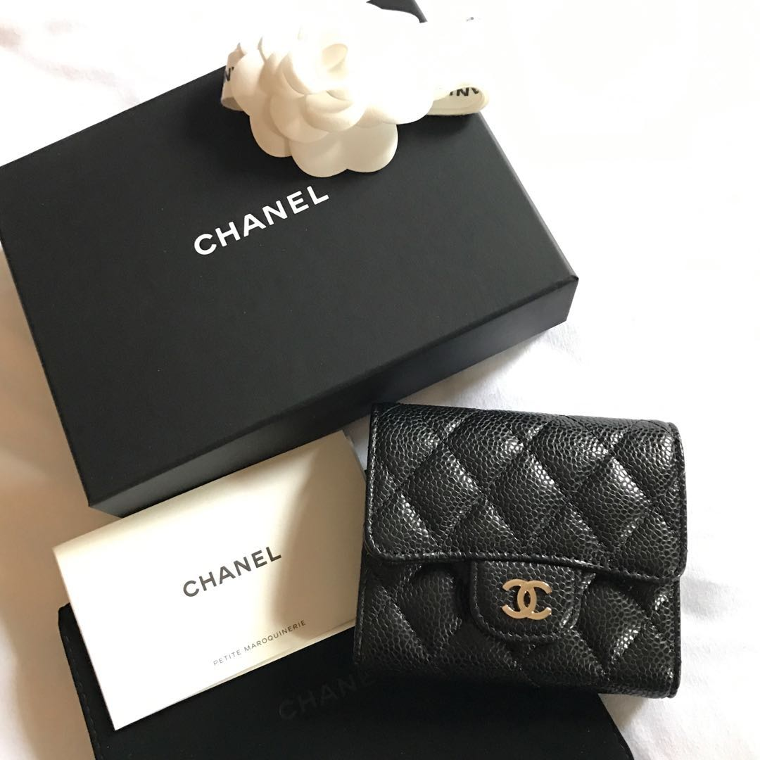 48bf83b6709798 💯% Authentic BN Chanel Short Wallet Caviar Black, Luxury, Bags ...