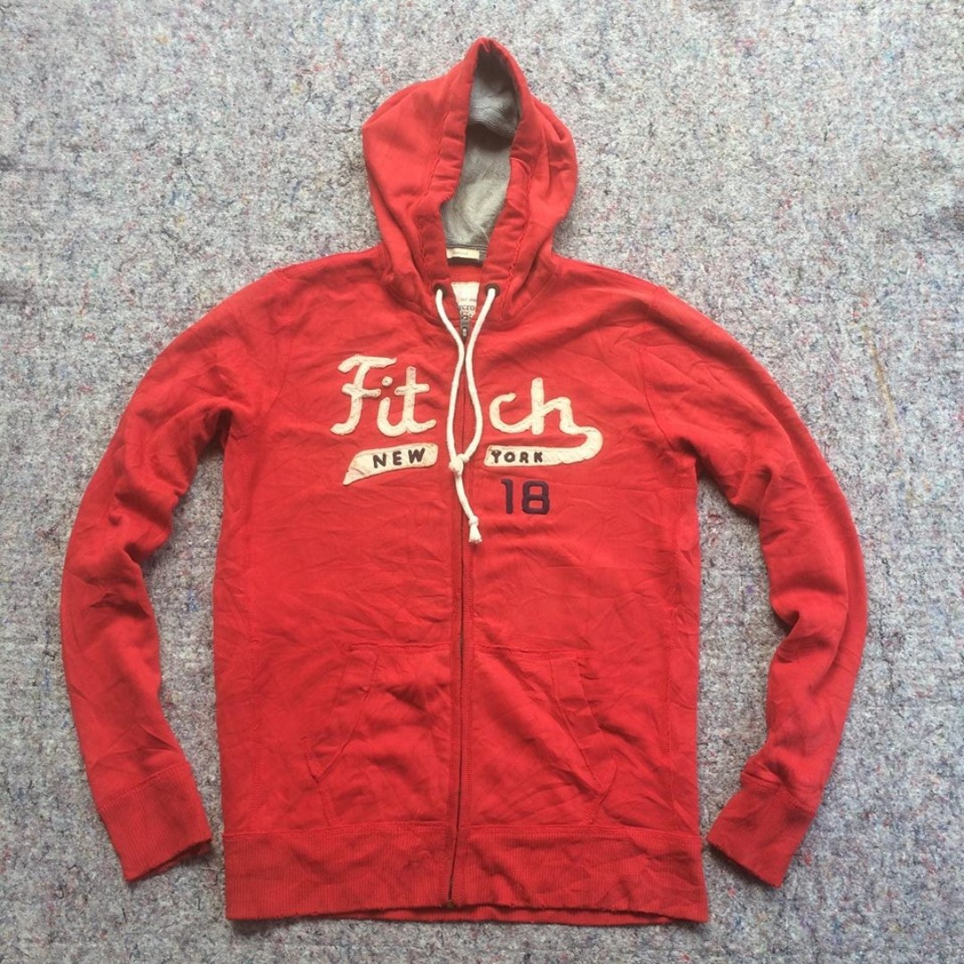 ABERCROMBIE AND FITCH NEW YORK 18 RED HOODIE RIPPED
