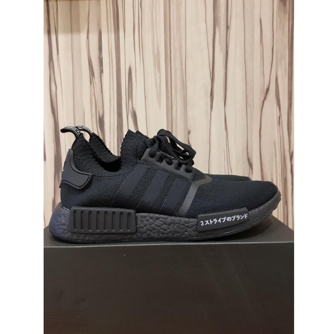 Adidas nmd pk giappone triple nero, moda maschile, le calzature per carousell